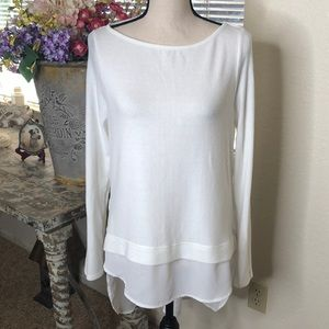 WHBM White long sleeve high low top